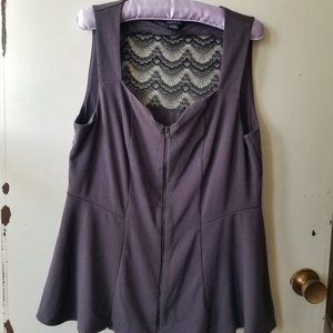 Torrid Grey Tank with Lace and Zip Front